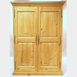 Provincial Pine Armoire with Two Paneled Doors
