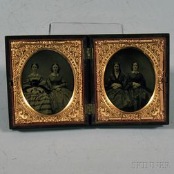 Two Sixth-plate Ambrotype Portraits Depicting Four Sisters