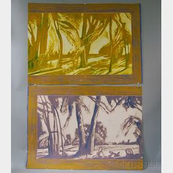 Conley Harris (American, b. 1943)      Two Monotypes of a Tropical Landscape.
