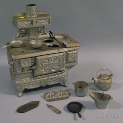 Cast Iron Doll's Rival Stove and Cookware
