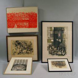 Five Framed Prints:      Rudolf (Ru) Harold van Rossem (Dutch, b. 1924), Impressions of Southern   Italy