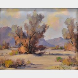 Eva Worcester (American, 1892-1970)      Desert Landscape with Foreground Trees