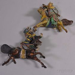 Two Roof Tile Figures of Warriors