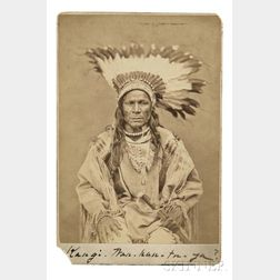 "Framed Cabinet Card Photograph of Chief ""Sword Bearer,"" Yanktonai, by O.S. Goffe"