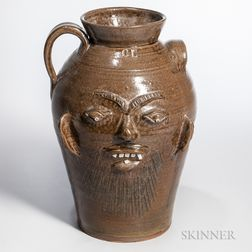 Three-gallon Charles Lisk Alkaline Glazed Stoneware Face Jug