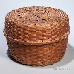 Round, Lidded, Woven Ash Splint Basket