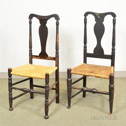Two Queen Anne Black-painted Side Chairs