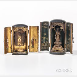 Two Portable Lacquered Shrines
