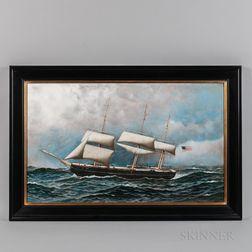 Antonio Nicolo Gasparo Jacobsen (Danish/American, 1850-1921)      Portrait of an American Sailing Ship