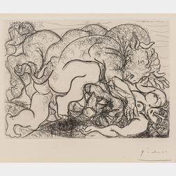 Pablo Picasso (Spanish, 1881-1973)      Minotaure attaquant une Amazone