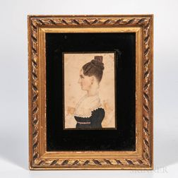 American School, Mid-19th Century      Miniature Portrait of a Lady in Profile