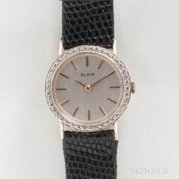 Elgin 14kt Gold and Diamond Manual-wind Wristwatch