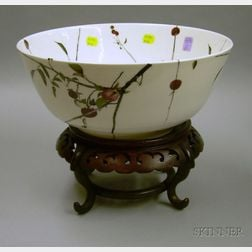 Large Royal Doulton Andrew Wyeth Punchbowl on an Asian Hardwood Stand