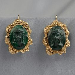 14kt Gold and Malachite Cameo Earpendants, Eric de Kolb