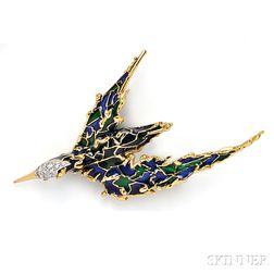18kt Gold, Plique-a-Jour Enamel, and Diamond Bird Brooch