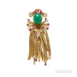 18kt Gold Gem-set Jester Brooch