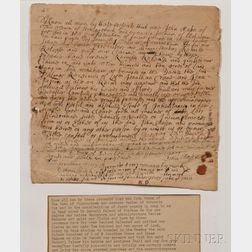 Native American Land Deed, 4 December 1707, Signed by Mohegan Chief Owaneco.