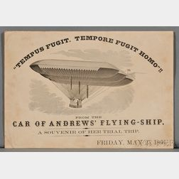 Airships, Ephemera, From the Car of Andrews' Flying-Ship, a Souvenir of her Trial Trip