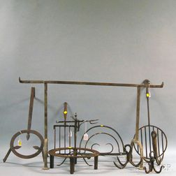 Group of Early Wrought Iron Hearth Tools and Implements