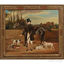 English School, 19th Century      A Sportsman with His Horse, Hounds, and Trophy