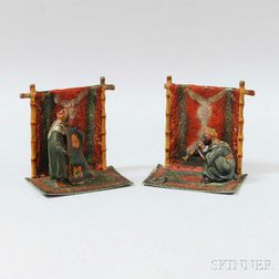 Coronet Cold-painted Metal Bookends