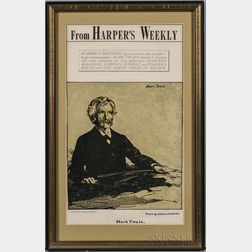 Nicholson, William (1872-1949) Harper's Weekly   Poster, Announcing an Exclusive Publishing Contract with Mark Twain, 1900.