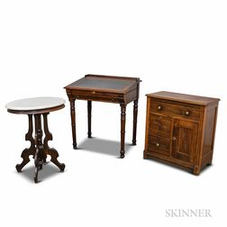 Three Pieces of Renaissance Revival Carved Walnut Furniture