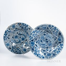 Pair of Blue and White Export Molded Dishes