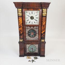 New Haven Rosewood Veneer Reverse-painted Shelf Clock