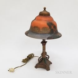 Painted Metal and Glass Table Lamp