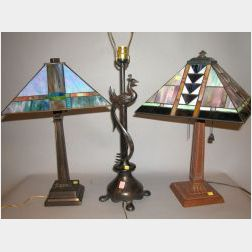 Two Prairie School Style Leaded Slag Glass Lamps and a Patinated Metal Table Lamp.