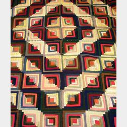 Log Cabin Barn Raising Pattern Pieced Quilt