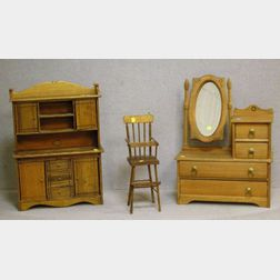 Child's Victorian-style Stained Pine Mirrored Dresser and Ash Step-back Cupboard
