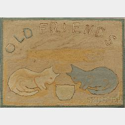 """OLD FRIENDS"" Wool Hooked Rug with Two Cats"