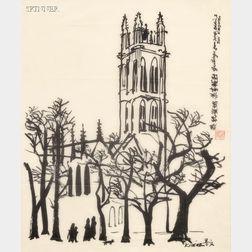 Dong Moy Chu Kingman (American, 1911-2000)      Trinity College Chapel, Hartford, Connecticut