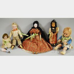 Group of Five Assorted Dolls