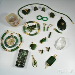 Group of Asian Hardstone Jewelry and Accessories