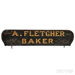 """Paint-decorated """"A. FLETCHER BAKER"""" Wagon Board"""
