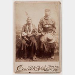Framed Cabinet Card Photograph of Two Prairie Men by Cusick