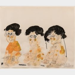 Dwight Mackintosh (American, 1906-1999)      Untitled (Three Figures with Drips)
