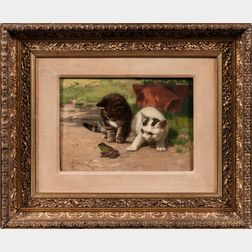 John Dolph (New York/Ohio, 1835-1903)      Two Kittens and a Frog