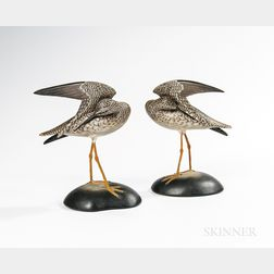 Pair of Carved and Painted Preening Yellowlegs