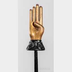 Gold- and Black-painted Heart and Hand Odd Fellows Warden's Staff with Stand