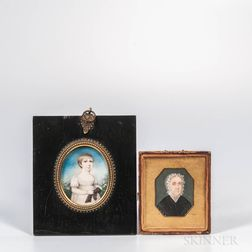 Two American School Miniature Portraits of Ladies