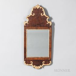 Walnut Veneer and Gilt Mirror