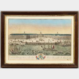 French School, 18th Century    Veuë et Perspective de la Place Royalle de Bordeaux