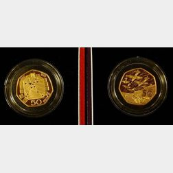 Two United Kingdom Gold Proof  Fifty Pence Coins