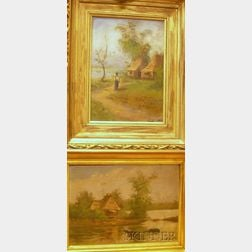 Lot of Two Framed Oil on Board Views of Africa