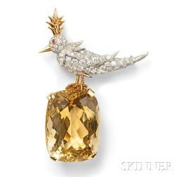 "Citrine and Diamond ""Bird on a Rock"" Brooch, Schlumberger, Tiffany & Co."