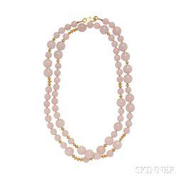 High-karat Gold and Rose Quartz Bead Necklace